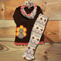 Brown Aztec Pom Pom Turkey Scarf Set