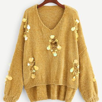 Plus Sequin Patched Ripped Stepped Hem Sweater