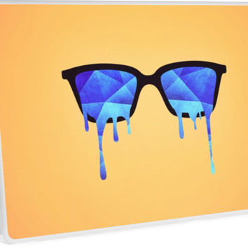 'Abstract crystal ice blue triangle (low poly) / Hipster Nerd Glasses' Laptop Skin by badbugs
