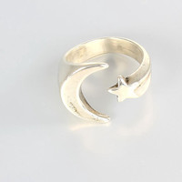 Napier sterling silver Ring Moon Star, modernist modern jewelry size 6.5 ring