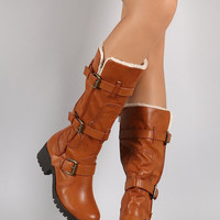 Bamboo Buckled Strap Round Toe Knee High Boots