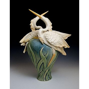 2 Herons Vase Ceramic Artwork by Bonnie Belt