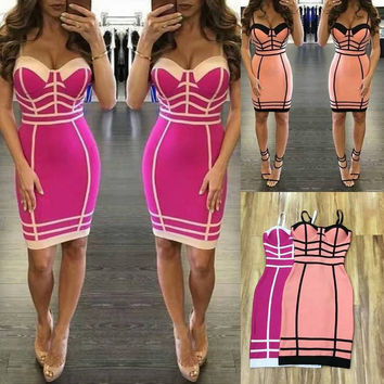 Free Shipping 2016 HL Rayon Bandage Dress Women Spaghetti Strap Bodycon Bandage Dress Sleeveless Bustier Dress Pink Rosy Blue