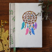 Dreamcatcher notebook Dream journal Hand embroidered journal Forest embroidery cross stitch notebook fabric Dream catcher journal Soft cover