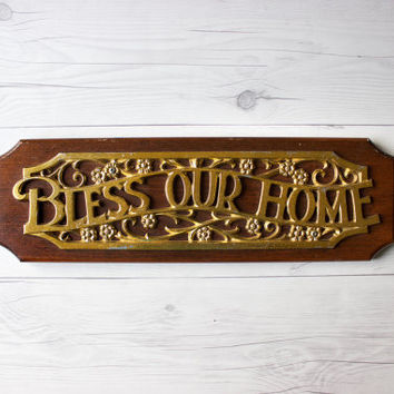 "Vintage ""Bless Our Home"" Wood Sign 