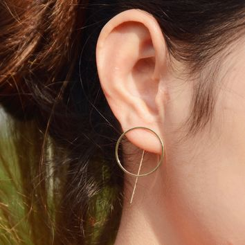 Contracted tide van fashion and personality Geometric circle stud earrings