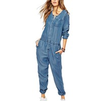 2016 spring European ladies elegant vintage jumpsuit women pockets slim casual denim romper women jumpsuits