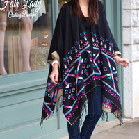 Vfish: Tribal Poncho Shawl {Black+Taupe}