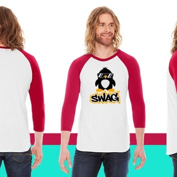 Swag Penguin American Apparel Unisex 3/4 Sleeve T-Shirt