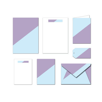 Printable Stationery Set - Blue & Purple - Notes / Card / Gift Tag / Envelope