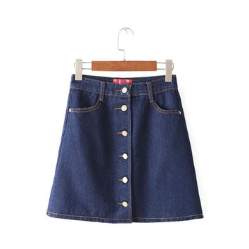 Summer Women's Fashion Korean High Rise Slim Denim Dress Skirt [4920259588]