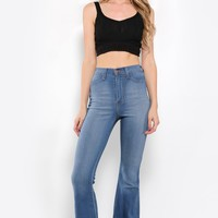 High Waisted Super Flare Denim Jeans
