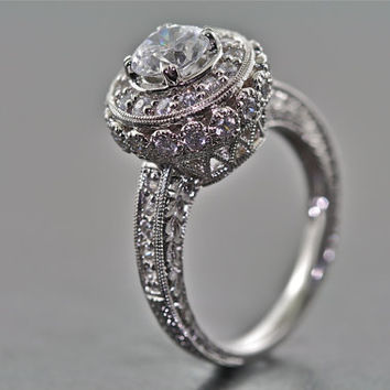 14kt White Gold Modern Edwardian Engagement and Wedding Hand Engraved Ring with 1ct White Sapphire Center