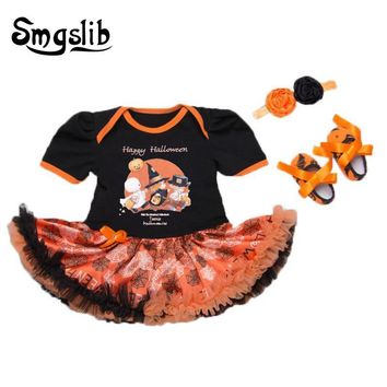 Baby girl halloween outfits 3PCS Set Pumpkin ghost newborn baby boy clothes headband baby fashion Tutu Dress+shoes kids clothes