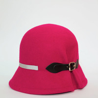 Doune - Fuchsia Cloche Hat with detail of black buckle and soft grey grosgrain ribbon