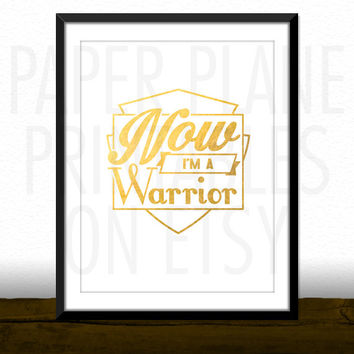 Now I'm A Warrior - Demi Lovato Song Lyrics [Printable Typography Art Poster] Digital Download Instant Print 8 x 10