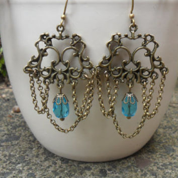 Baroque chandelier earrings, chain chandelier with blue Czech glass beads, antique bronze, vintage look, romantic earrings; UK seller