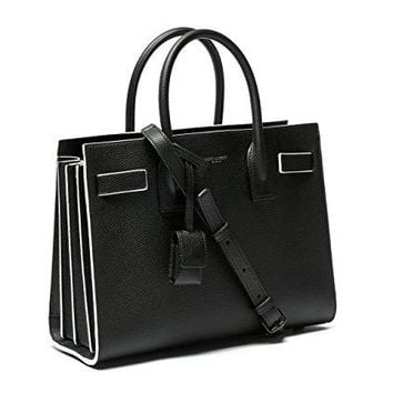 Wiberlux Saint Laurent Women's Contrast Trim Pebbled Real Leather Tote Bag