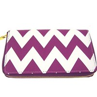 Womens Chevron Zip Around Long Wallet - You Pick Color! (Purple)