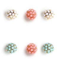Multi Color Cluster Stud Earrings