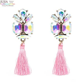 JUJIA 6 color fashion jewelry trendy crystal earrings statement dangle long tassel DROPS earrings fashion women wedding earrings