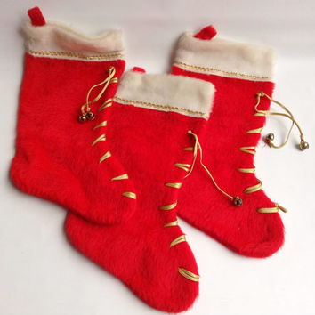 Vintage Red and White Christmas Stockings with Bells