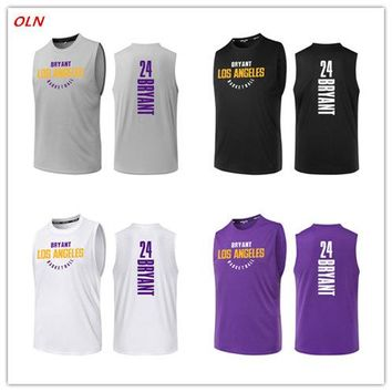 Oln Los Angeles Cheap Men Print Basketball Jerseys 24 Kobe Bryant Jersey Top Quality Uniforms Training Running Sports Shirts