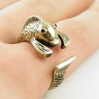 Gold Fish Wrap Ring - SIZE 7