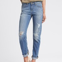 Banana Republic Womens Destroyed Light Wash Straight Jean
