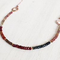 Multi Tundra Sapphire Gemstone Rondelle Necklace with 14k Rose Gold Filled Chain and Gold Vermeil Nugget Beads