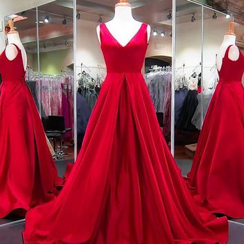 Evening Dresses V Neck Satin Prom Dress Simple Long Dress