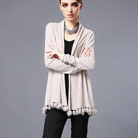 Tassels Long Sleeve Cardigan Sweater