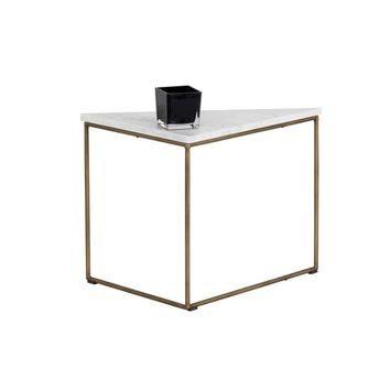 TURBINE ANTIQUE BRASS STEEL FRAME WITH SOLID WHITE MARBLE TOP END TABLE