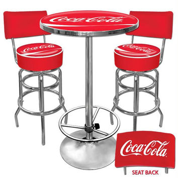 Ultimate Coca-Cola Gameroom Combo - 2 Stools w-Back & Table