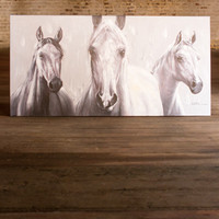 Oil Painting - 3 Black & White Horses