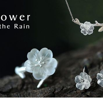 Gorgeous Real Natural Crystal Flower in the Rain Design Bracelet for Women by Ritzy