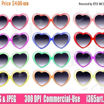 50% off sale Heart Glasses Clipart, Heart Glasses Clip art, Sun glasses clipart, Scrapbooking, Planner Supplies, Invitation, PNG, Commercial