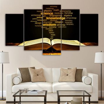 Print Painting Canvas Kids Room 5 Pieces/Pcs Academic Words Golden Religion Bible HD Decor Wall Art Frame Poster Modular Picture