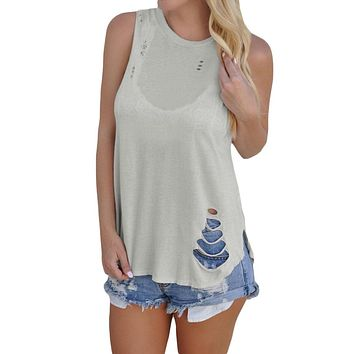 Chicloth Gray Laser Cut Detail Tank Top