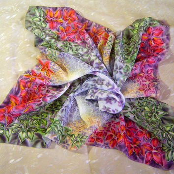 "Art Silk shawl""Mysterious Ways"".Original Hand Painted Women Square scarf.Colors:green,red,lilac,violet,pink,purple.Ready2ship.60x60cm,24x24"""