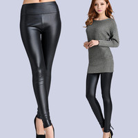 New Faux Leather Leggings Sexy Fashion High-waist Stretch Material Pencil Women Leggings Sexy Leggings Women  Free Size