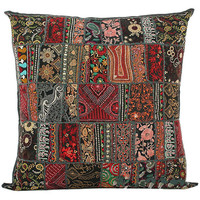 20X20 Large Decorative Vintage Throw pillow, Embroidered Accent Outdoor sofa Pillow, Tribal throw pillow, Patchwork Handmade Indian Pillow