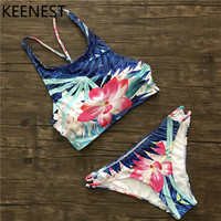 KEENEST Print Floral Bikini Set Halter Crop Top Hang High Neck Bikinis Set Push Up Swimwear Women Swimsuit Beach Bathing Suit