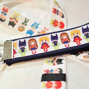 Little women superhero ribbon key fob keychain and lanyard
