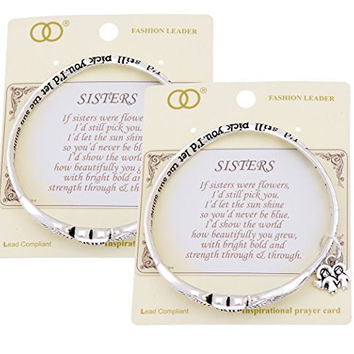 Sister poem poet twist mobius charm bangle bracelet winged heart inscribed words to live by family values 2 PCS SET