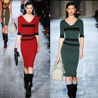 Womens Half Sleeve Knee Length Midi Dress Fitted Bodycon Color Block Striped 1IA