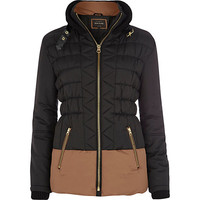 River Island Womens Black padded two-tone jacket