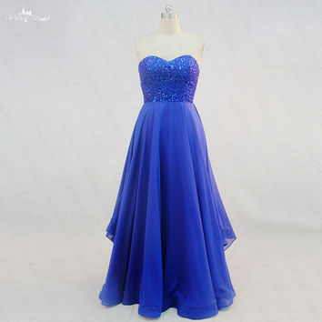 Long Beaded Royal Blue Prom Dresses