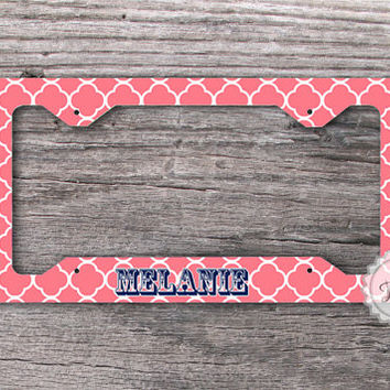 License Plate Frame - Coral  Quatrefoil with custom name car tag frame , personalized car tag frames - 019