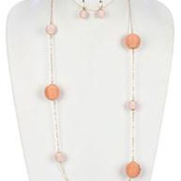 COLOR CORD WRAPPED CHUNKY BALL CHAIN  NECKLACE AND EARRING SET